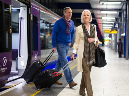 Couple on the Heathrow Express