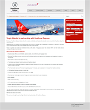 Virgin Airlines landing page