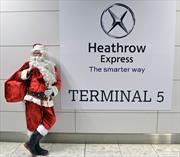 Santa on platform at Heathrow Terminal 5