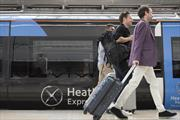 Heathrow Express train and passengers
