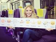 Carol Vorderman aboard a Heathrow Express train