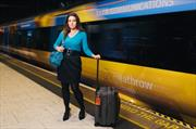 Sarah Willingham and Heathrow Express train at Heathrow Airport
